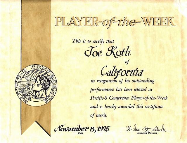 Player-of-the-Week Certificate